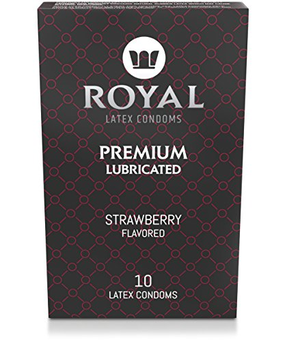 Royal Ultra-Thin Latex Condoms - Strawberry Flavored and Lubricated - Strong, Non-Toxic Latex - All Natural, Organic, Vegan, No Cruelty Contraceptive - Snug Fit, Accurate Sizing - 10 Pack