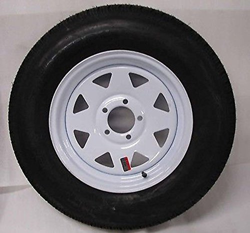 15' White Spoke Trailer Wheel with Bias ST205/75D15 Tire Mounted (5x4.5) bolt circle