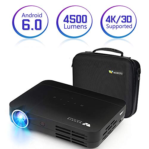 Projector WOWOTO H10 4500 Lumens Mini Projector Android 6.0 3D LED DLP 1280x800 Real Home Theater Projector Support 4K 1080P Wireless Screen Share Video Projector with HDMI USB SD Projector Case