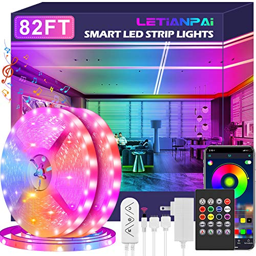 Led Strip Lights, 82ft/25m Ultra Long Smart Led Light Music Sync 5050 RGB Color Changing Tape Lights,Bluetooth APP/IR Remote/Switch Box Control Rope Lights for Bedroom,Home Decoration,Party,Festival