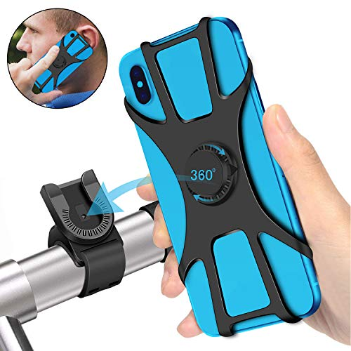 SYOSIN Bike Phone Mount, Detachable 360° Rotation Motorcycle Phone Mount with Adjustable Universal Silicone Handlebar Cradle Compatible with iPhone 11 Pro Max/X/XS MAX/XR/8/8 Plus, Samsung S10/S10e
