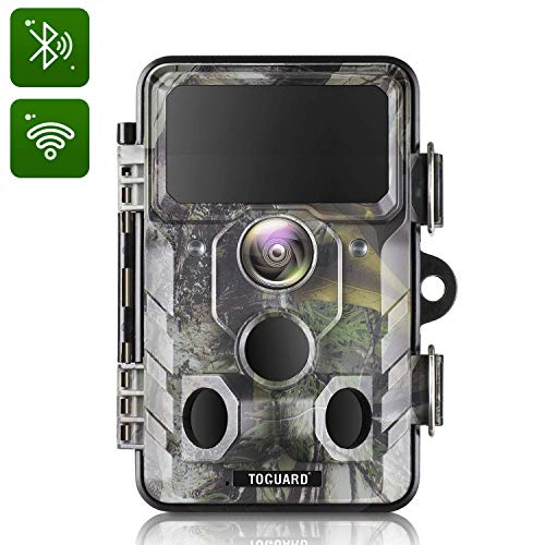 TOGUARD Upgraded Wildlife Camera WiFi Bluetooth 20MP 1296P Hunting Trail Camera with 120 Monitoring Angle with Motion Activated Night Infrared Vision Waterproof Outdoor Scouting Game Camera