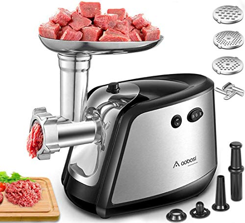 Electric Meat Grinder, Aobosi 3-IN-1 Meat Mincer & Sausage Stuffer,1200W MaxSausage & Kubbe Kits Included, 3 Grinding Plates,Dual Safety Switch, Stainless Steel Housing