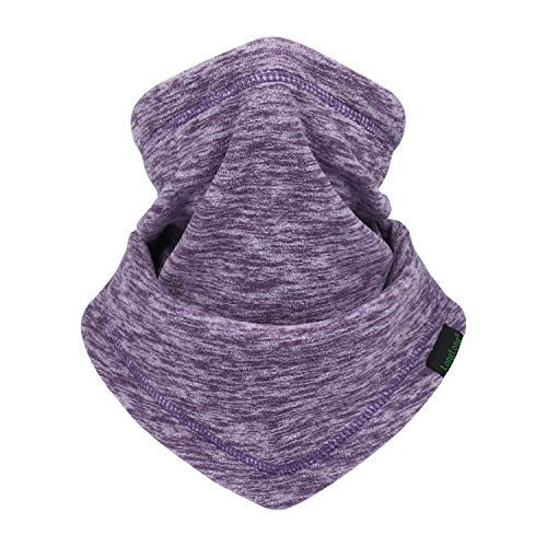 LONGLONG Neck Warmer Gaiter- Winter Thicken Soft Elastic Fleece Skiing Face Scarf Mask (Purple)