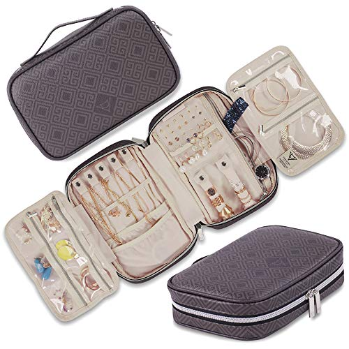 Travel Jewelry Organizer. Spacious Case for Tangle-Free Storage of Necklaces, Earrings, Rings, Bracelets & Accessories. Portable & Luxurious Vegan Leather Pouch Silver & Black