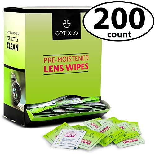 Eyeglass Cleaner Lens Wipes - 200 Pre-Moistened Glasses Cleaner Cloths - Eye Glasses Cleaning Wipe Safely Cleans Glasses, Sunglasses, Phone Screens, Electronics, Laptops & Camera Lense | Streak-Free