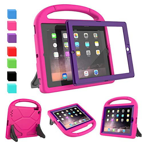 AVAWO Kids Case Built-in Screen Protector for iPad 2 3 4 (Old Model)- Shockproof Handle Stand Kids Friendly Compatible with iPad 2nd 3rd 4th Generation (Rose+Purple)