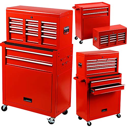Rolling Tools Chest with Drawers Tools Storage Chest for Garage Toolbox Chest on Wheels 8-Drawer Tool Storage Cabinet Steel Red