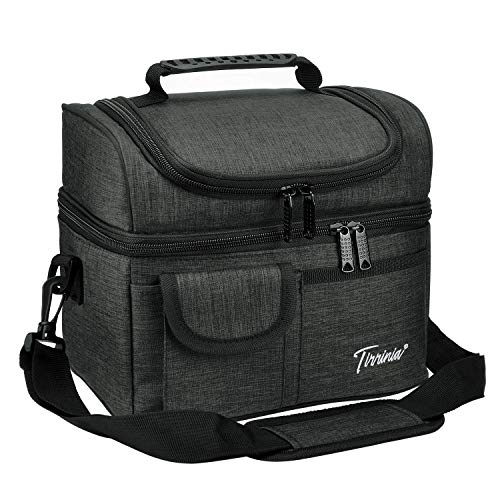 Tirrinia Insulated Lunch Bag, Leakproof Thermal Bento Cooler Tote for Women and Men, Dual Compartment with Shoulder Strap, 10.3' x 7.5' x 8.6', Charcoal