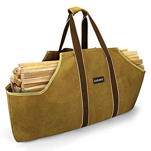 AHUIFT Firewood Log Carrier Bag with Comfortable Handles,Waterproof Canvas Firewood Holder Premium Quality Foldable Log Tote Bag
