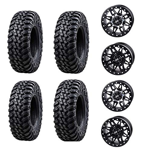 Bundle Kit - Four 30X10-15 TUSK TERRABITES mounted on TUSK WASATCH BEADLOCK WHEELS - QUANTITY of 4 Each - 4/156 Bolt Pattern - TEXTRON WILDCAT XX 2018 (Matte/Black)