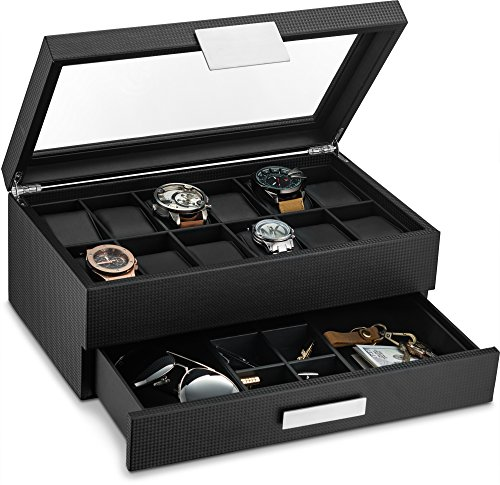 Glenor Co Watch Box with Valet Drawer for Men - 12 Slot Luxury Watch Case Display Organizer, Carbon Fiber Design - Metal Buckle for Mens Jewelry Watches, Men's Storage Boxes Holder has Large Glass Top