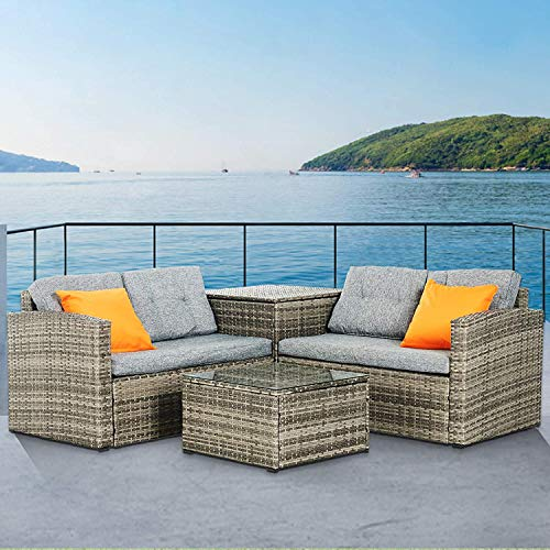 Mecor 4 Piece Outdoor Patio Furniture Set, Wicker Sectional Cushioned Sofa Set with Storage Box, Glass Coffee Table, Grey Cushions, 2 Orange Pillows, Suit for Garden, Backyard, Lawn (Grey)
