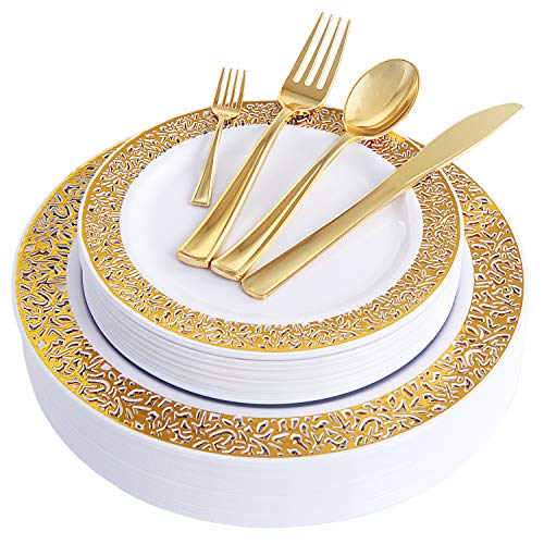 WDF 150PCS Gold Plastic Plates with Disposable Plastic Silverware,Lace Design Plastic Tableware sets include 25 Dinner Plates,25 Salad Plates,25 Forks, 25 Knives, 25 Spoons/Bonus 25 Mini Forks