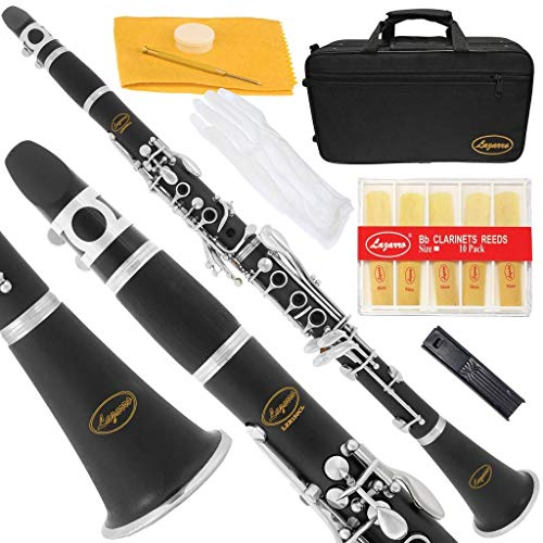 Lazarro Professional Black Ebonite-Silver Keys Bb B Flat Clarinet with 11 Reeds,2 Barrels,Case,Extras-See all 24 Colors-150-BK-PRO