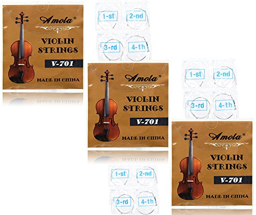 3 Packs Full Set Replacement Stainless Steel 4/4 Size Violin Strings E A D G
