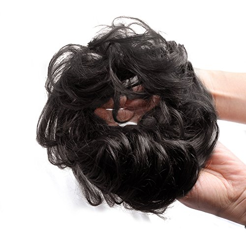 Bella Hair 100% Human Hair Scrunchies For Women Bun Up-Do Hairpiece Wavy Curly or Messy Ponytail Extension (#1B Natural Black)