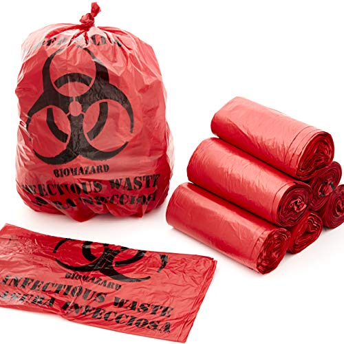 No Leak, Hospital Grade Biohazard Waste Bags 100 Pk. 10 Gallon, 24' Red Trash Liner with Hazard Symbol for Infectious Waste Disposal. Best Small Lab Can Liners for Labeling Biohazardous Trash Safely