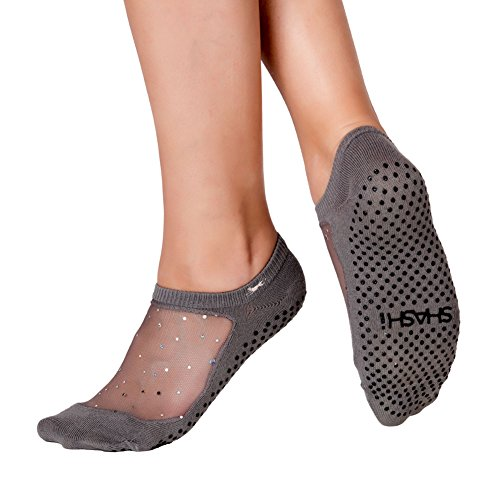 Shashi Charcoal Glitter Mesh Non Slip Ergonomic Socks Pilates Barre Ballet Yoga Dance, Small, 5.5-7.5