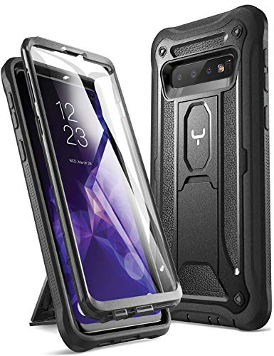 YOUMAKER Case for Galaxy S10, Built-in Screen Protector Work with Fingerprint ID Kickstand Full Body Heavy Duty Protection Shockproof Cover for Samsung Galaxy S10 6.1 inch (2019) - Black