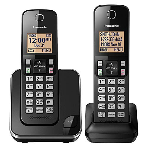 Panasonic Expandable Cordless Phone System with Amber Backlit Display  2 Handsets  KX-TGC352B (Black