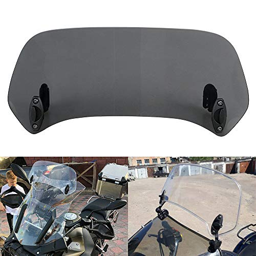 XMMT Motorcycle Smoke Adjustable Windshield Extension Spoiler Deflector Clip On for Honda Suzuki Kawasaki Yamaha BMW Harley Buell Triumph Ducati Aprilia Universal Motorcycle Windshield