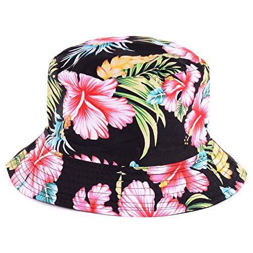 BYOS Fashion Cotton Unisex Summer Printed Bucket Sun Hat Cap, Various Patterns Available (Vintage Flower Black)