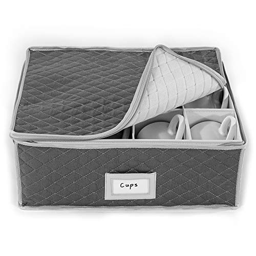 China Cup Storage Chest - Quilted Fabric Container in Gray Measuring 16' x 13' x 6'H - Perfect Storage Case for Coffee Cups - Tea Cups - Mugs