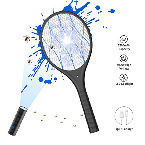 Electric Large Bug Zapper Racket, Mosquito killer, Fruit Fly Swatter Zap, Pest Control, 4,000 Volt, USB Rechargeable, LED Lighting, Removable flashlight, Unique 3 Layer Safety Mesh Safe to Touch