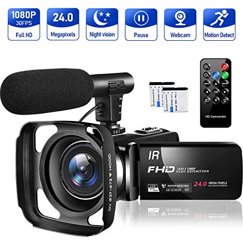 Video Camera Camcorder Full HD 1080P 30FPS 24MP Vlogging Camera for YouTube 16X Digital Zoom IR Night Vision Camcorder with Microphone Remote Control Lens Hood and 2 Batteries Time Lapse Webcam