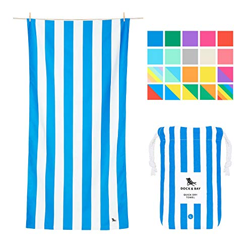 Microfiber Towel - Beach & Travel (Blue - Large 63x31') - quick dry, compact for swim, pool, boat,Large (160x80cm)