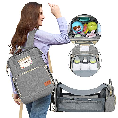 Diaper Bag with Bassinet for Baby Girl Boy Portable Changing Station Backpack Organizer Insulated Pocket Baby Crib Out Bed Foldable Waterproof Convertible Multi-Functional (Gray)
