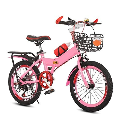 JCX Folding Children's Bicycle Variable Speed Shock Absorption Mountain Bike 7-8 Years Old and Above, 18/22/22 Inch Training Car, Boys and Girls Primary School Car, with Basket
