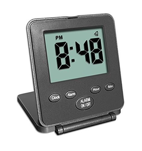 Digital Travel Alarm Clock - No Bells, No Whistles, Simple Basic Operation, Loud Alarm, Snooze, Small and Light, ON/Off Switch, 2 AAA Battery Powered, Black