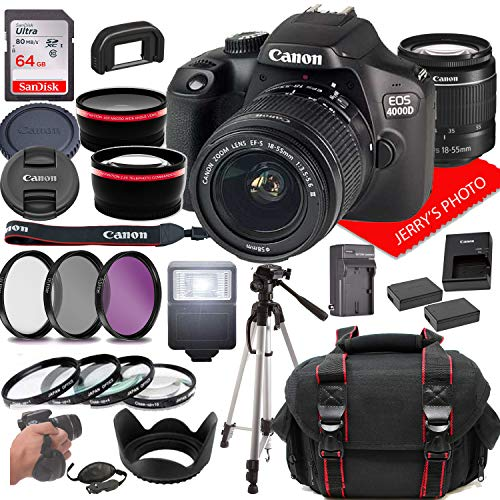 Canon EOS 4000D DSLR Camera w/Canon EF-S 18-55mm F/3.5-5.6 Zoom Lens + Case + 64GB Memory (26pc Bundle)