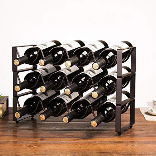 UPDD 3 Tier Stackable Metal Wine Rack, Countertop Wine Holder Storage Stand, Suitable for Kitchens, Bars, Wine Cellars, Basements, Cabinets, Pantry (Holds 12 Bottles)