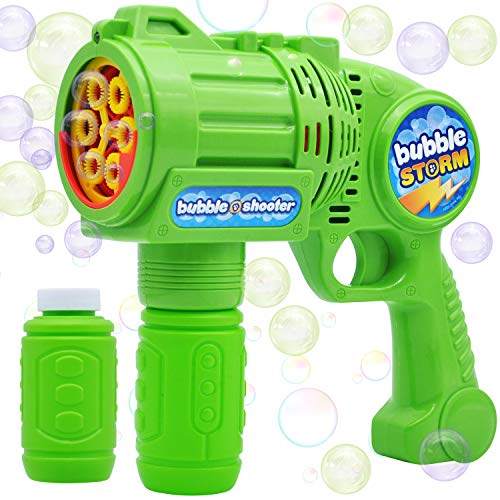 JOYIN Bubble Gun Blaster Automatic Bubble Maker Blower Machine with 2 Bottles Bubble Solutions for Kids, Bubble Blower for Bubble Party Favors, Summer Toy, Birthday, Outdoor & Indoor Activity, Easter