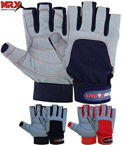 MRX BOXING & FITNESS Sailing Gloves with 3/4 Finger and Grip for Men and Women, Great for Kayaking, Workouts and More (Blue/Grey, Large)