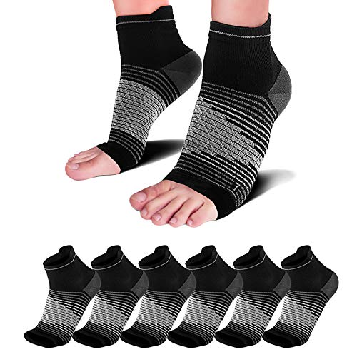 Plantar Fasciitis Compression Socks(6 Pairs), Compression Foot Sleeve for Ankle/Heel Foot Support, Increase Blood Circulation, Relieve Arch Pain, Reduce Foot Swelling, Black XL