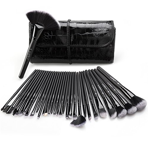 Makeup Brush Set, USpicy 32 Pieces Premium Professional Makeup Brushes Essential Cosmetics With Case, Face Eye Shadow Eyeliner Foundation Blush Lip Powder Liquid Cream Blending Brush-Black