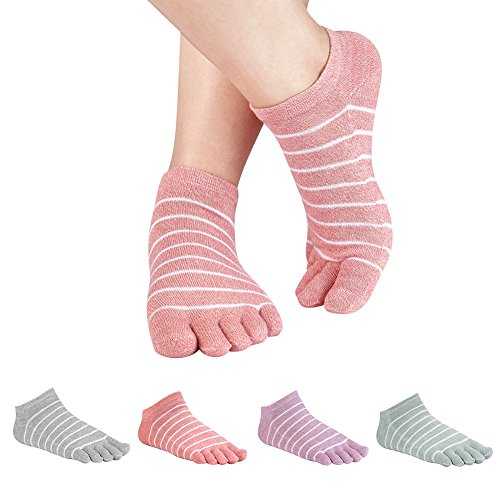 Women's Toe socks Cotton Lightweight No Show Five Fingers Running Socks 4 Pack (Multicolored-4)