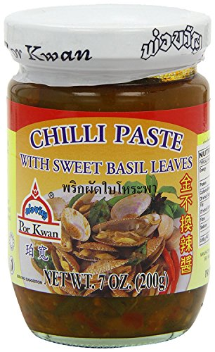 Por Kwan Thai Chili Paste With Sweet Basil Leaves 7 Ounce Jar