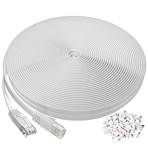 Ethernet Cable 100 ft, Flat Long Cat6 Internet Cable for Router,Modem,Gaming, High Speed Network Cord with Clips RJ45 Snagless Connector Fast Computer LAN Wire for PS4,Xbox,Switch,WiFi,Coupler, White