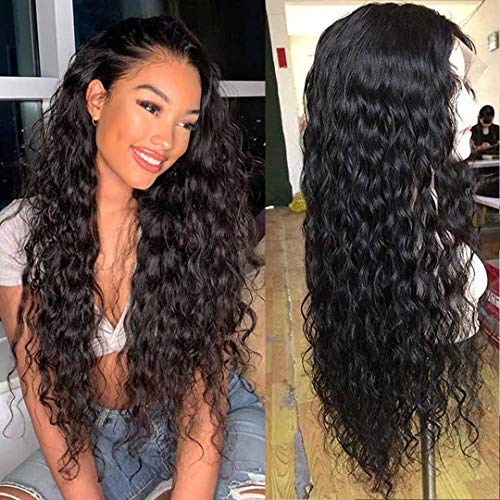 Lace Front Wigs Human Hair Wet and Wavy Lace Frontal Human Hair Wigs Pre Plucked for Black Women 150% Density Unprocessed Brazilian Human Hair Water Wave Lace Frontal Wigs Nature Color (16 inch)