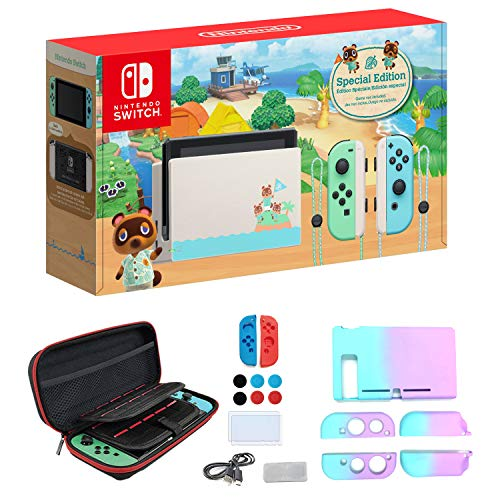 Newest Nintendo Switch with Green and Blue Joy-Con - Animal Crossing: New Horizons Edition - 6.2' Touchscreen LCD Display - Green and Blue - iPuzzle 7-in-1 Carrying Case