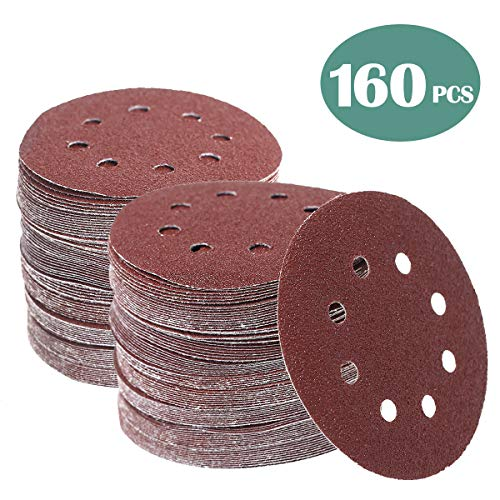 160 Pcs 5 Inch Sanding Discs Hook and Loop Orbital Sander Sandpaper 40 60 80 100 120 150 240 320 400 600 Grit 8 Hole Sanding Discs (160 PCS, 40-600 GRIT)