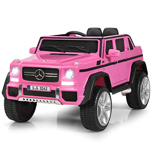 Costzon Ride on Car, Licensed Mercedes-Benz Maybach G650S, 12V Battery Powered Toy w/ 2 Motors, 2.4G Remote Control, 3 Speeds, Bluetooth, Lights, Horn, Music, Truck, Electric Vehicle for Kids (Pink)