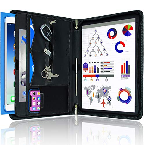 STYLIO Zippered Padfolio Portfolio Binder, Interview Resume Document Organizer. Internal Holders For iPad/Tablet (up to 10.1'), Phone & Business Cards. Faux Leather Data Case with Letter-Sized Notepad