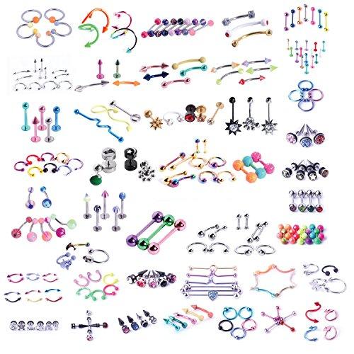 BodyJ4You 120 PCS Body Piercing Lot Belly Ring Tongue Eyebrow Tragus Barbells 14G 16G Random Mix