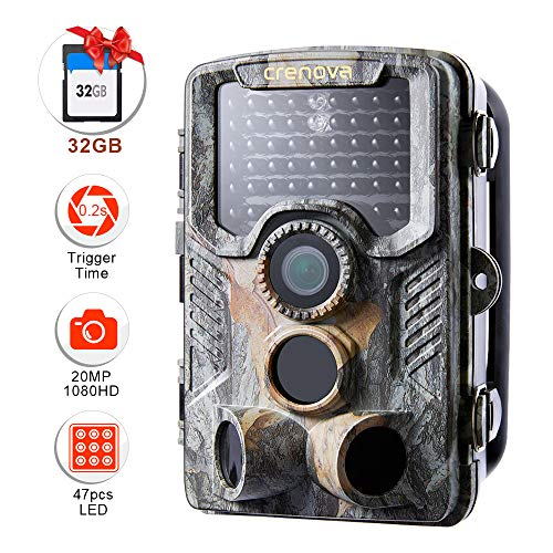 Crenova 20MP Wildlife Trail Camera with 32GB Card Included Game Camera